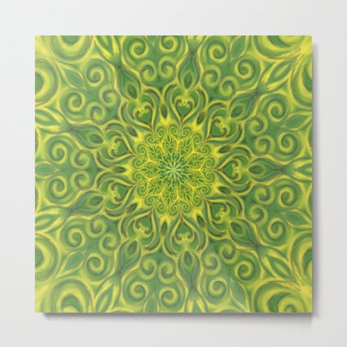 green center swirl mandala Metal Print