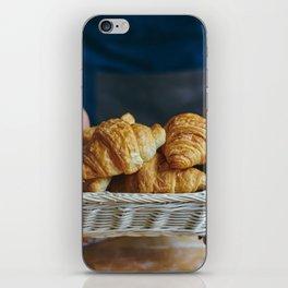 Croissant in a wicker basket iPhone Skin
