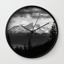 Mount Shasta Morning in Black and White Wall Clock