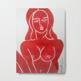 The Lady in Red Erotic Female Nude Woman Art Original Print Metal Print