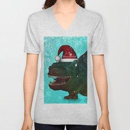 T-rex, merry christmas Unisex V-Neck