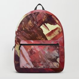 Desert Sun: A bright, bold, colorful abstract piece in warm gold, red, yellow, purple and blue Backpack