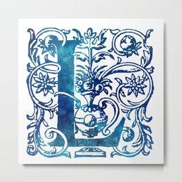 Letter L Antique Floral Letterpress Metal Print