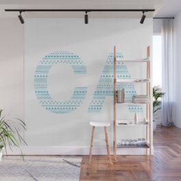 Typographic CA - Cyan Wall Mural