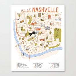 Illustrated East Nashville Map Canvas Print