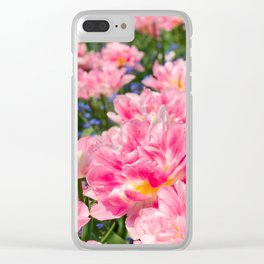 Blue forget-me-nots with pink tulips mix Clear iPhone Case