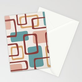 Mid Century Modern Abstract Squares Pattern 442 Stationery Cards