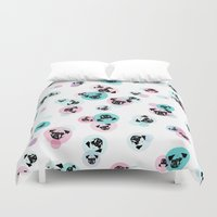 pugs Duvet Covers featuring Fizzy Pugs by Pets & Threads