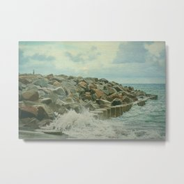 Saltwash on Seawall and Rocks Fort Fisher, NC Painterly Metal Print