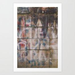 Cement Brick Graffiti Abstract Photograph Art Print