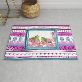 Frogs in Lotus Field with Frame and pink stripes Rug