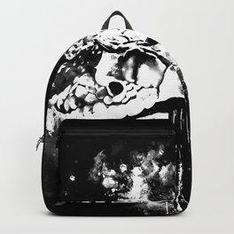 rattlesnake close up splatter watercolor black white Backpack