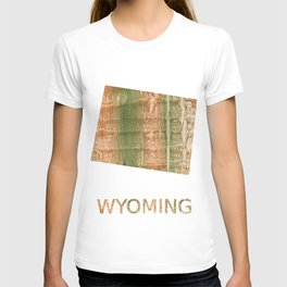 Wyoming map outline Brown green blurred watercolor texture T-shirt