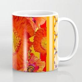 ORNATE YELLOW-RED POPPIES GARDEN  YELLOW ART Coffee Mug