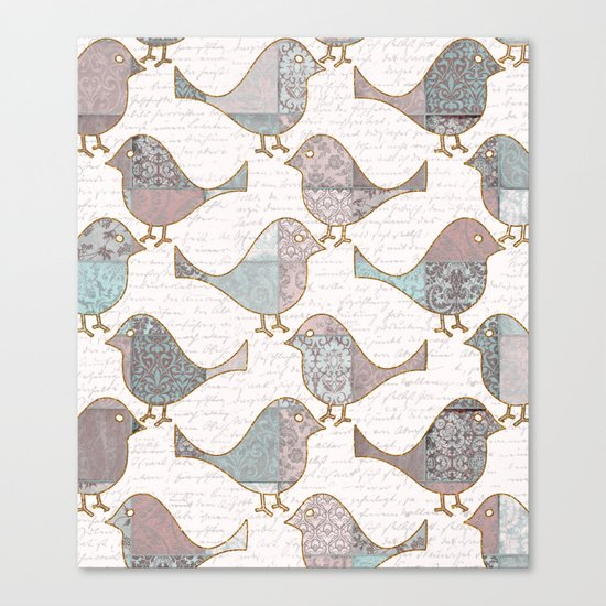 Vintage  Patchwork Birds handwriting pastel pattern Canvas Print