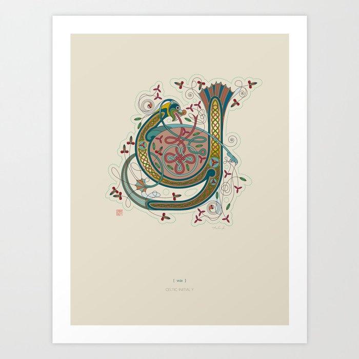 Celtic Initial Y Art Print