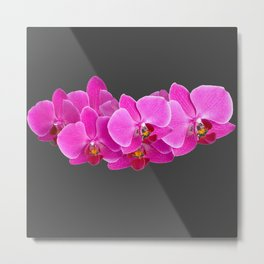 CHARCOAL GREY PURPLE PINK ORCHIDS Metal Print