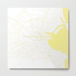 White on Yellow Dublin Street Map Metal Print