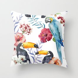 Tropical Bird Pattern 01 Throw Pillow