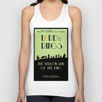 lotr Tank Tops featuring LOTR The Fellowship of the Ring Minimalist Poster by Sean Breeding Arthouse