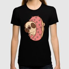 Puglie Doughnut Black Womens Fitted Tee SMALL