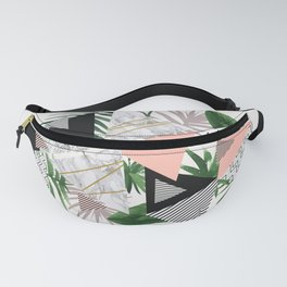 Abstract of geometric patterns with plants and marble Fanny Pack