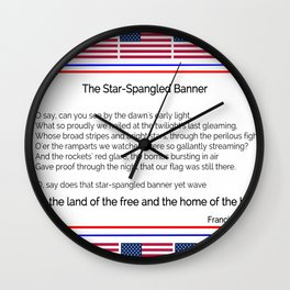The star spangled banner -america,usa,american flag,patriot, national anthem,stars and strips Wall Clock