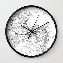 Rio De Janeiro White Map Wall Clock