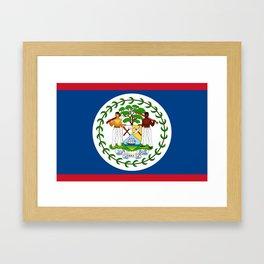 flag of belize-Belice, Belizean,Belize City,beliceno,Belmopan Framed Art Print