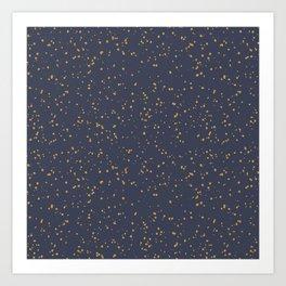 Speckles I: Dark Gold on Blue Vortex Art Print