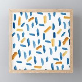Artsy navy blue orange gold watercolor brushstrokes Framed Mini Art Print
