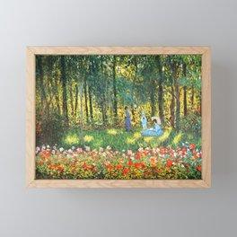 Claude Monet The Artist's Family In The Garden Framed Mini Art Print