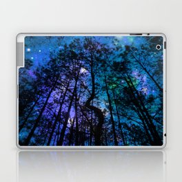 Black Trees Teal Purple Space Laptop & iPad Skin