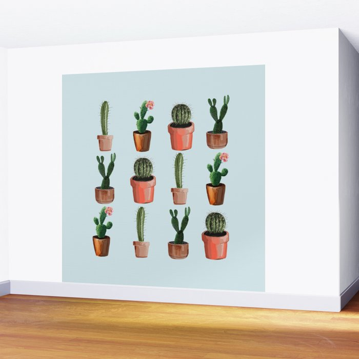 Various Cacti Light Blue Wall Mural