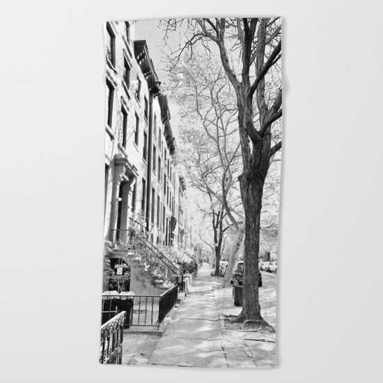 Cobble Hill Brooklyn Winter Black and White Brownstone Beach Towel