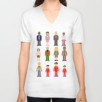 the royal tenenbaums V-neck T-shirts featuring The Royal Pixelbaums by Isabel