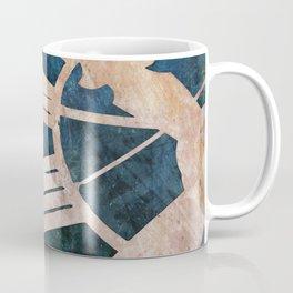 Peach Pink and Night Blue Clock Face Coffee Mug