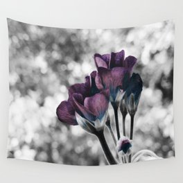 Pop of Color Flowers Muted Eggplant Teal Wall Tapestry