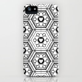 Hearts with floral and hexagonal geometric pattern iPhone Case