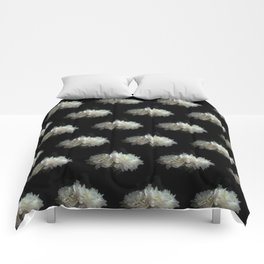 White Peonies on Black Comforters