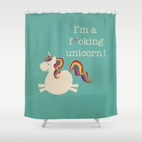 unicorn Shower Curtains featuring Unicorn - I'm a maturely speaking unicorn!!! by LucyDynamite