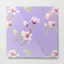 Magnolia Spring Pattern Lilac Background Metal Print