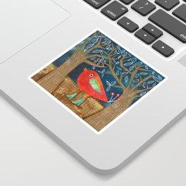 Red Bird in Galoshes Sticker