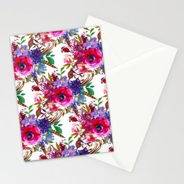 Bright Pink, Purple and Lavender Floral Arrangement with Feathers on Soft White Stationery Cards