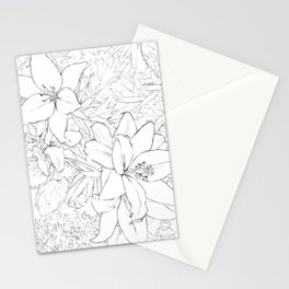 Asiatic Lillies I line art Stationery Cards