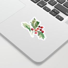 Holly Branch Merry Christmas  Sticker