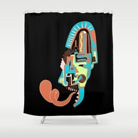 mask Shower Curtains featuring Mask by dAM 11