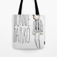 donnie darko Tote Bags featuring Donnie by Derek Eads