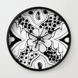 Black and White Talavera Ten Wall Clock
