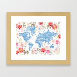 Blue and hot pink floral watercolor world map with cities Framed Art Print